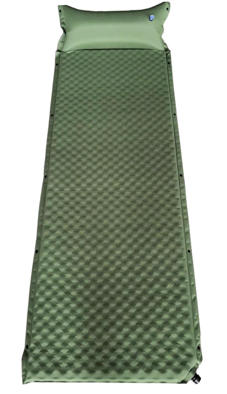 Ilmatäytteinen makuualusta tyynyllä vihreä